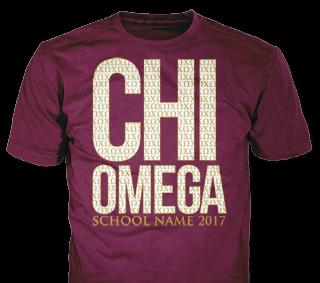 Chi Omega t-shirt design idea SP6265 on maroon t-shirts