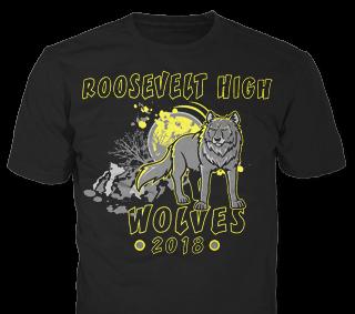 Class of 2019 Roosevelt High t-shirt design idea SP2971 on Black t-shirts