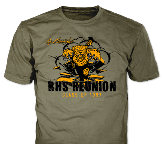 Class Reunion stock design SP2722 on green t-shirts