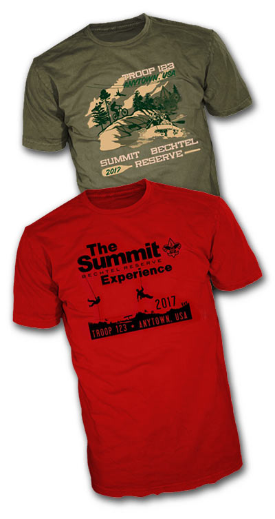 Custom boy scout Summit Bechtel Reserve t-shirt designs