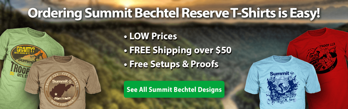 summit bechtel reserve SBR custom t-shirts gear ordering is easy • low prices • free shipping