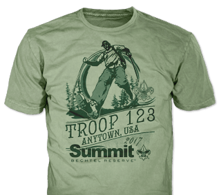 Summit Bechtel t-shirt design idea SP5164 on maroon t-shirts
