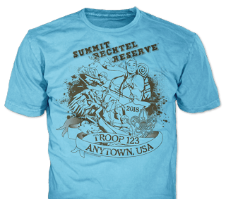 Summit Bechtel t-shirt design idea SP5149 on azalea blue t-shirts