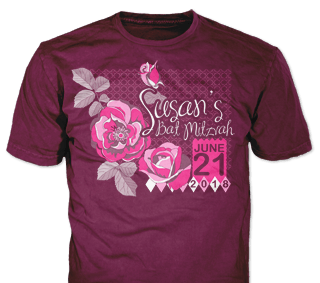 Bat Mitzvah t-shirt design idea SP5890 on Burgundy