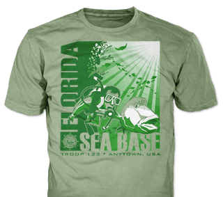 Florida Sea Base High Adventure Custom T-Shirt Design SP5036 on Olive Color