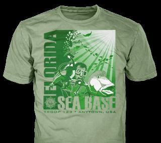 Florida Sea Base High Adventure Custom T-Shirt Design SP5036 on Olive Color