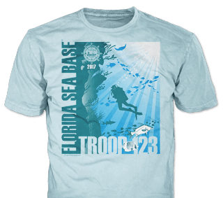 Florida Sea Base High Adventure Custom T-Shirt Design SP4912 on Sky Blue Color