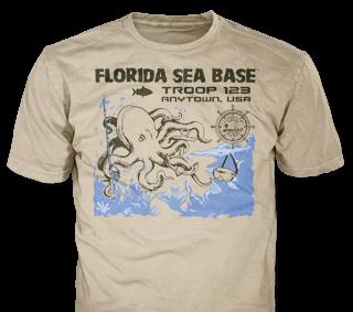 Florida Sea Base High Adventure Custom T-Shirt Design SP4999 on Tan Color