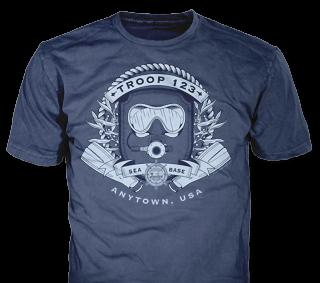 Florida Sea Base High Adventure Custom T-Shirt Design SP4575 on Navy Blue Color