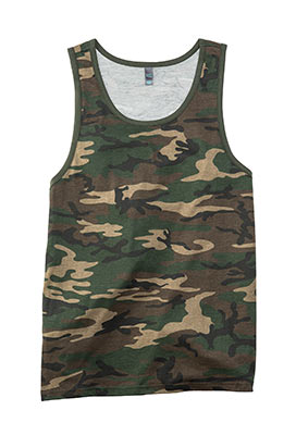 Cotton Ringer Tank Top Military Camo