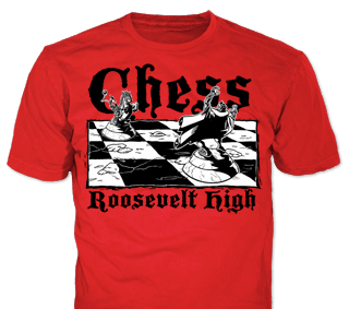 school chess club t-shirt design idea SP1723 on red t-shirts