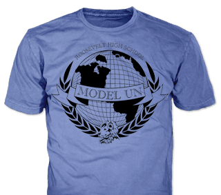 school model UN t-shirt design idea SP1717 on carolina blue t-shirts
