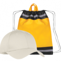 An image of a blank hat and drawstring bag.