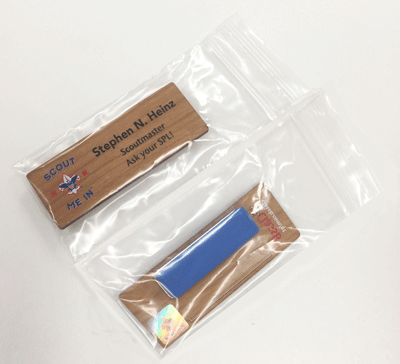 full color name tag example of packaging for boy scout name tags