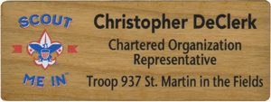 full color name tag with lots of text