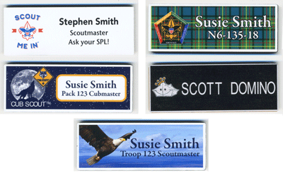 Plastic full color name tag examples