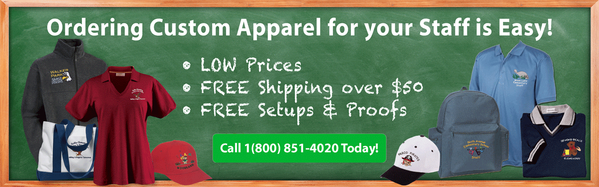 school teachers staff custom embroidery ordering is easy low prices free shipping