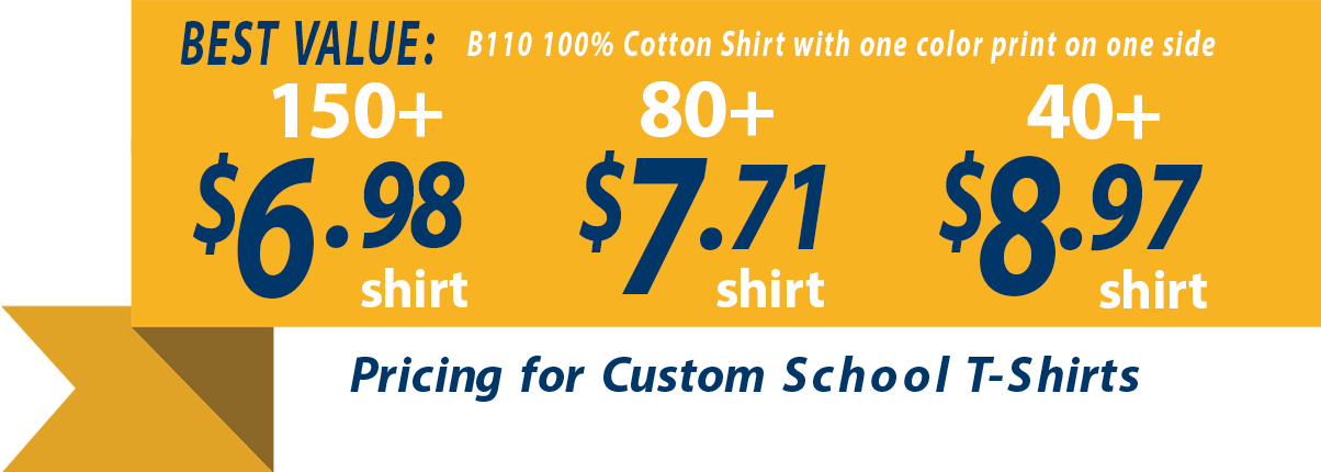 Custom t-shirts for school banner showing t-shirts as low as 6.98
