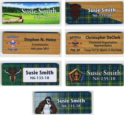 Wood full color name tag examples