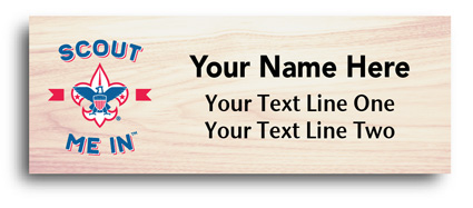 maple wood full color scout Name Tags - eagle and scout me in
