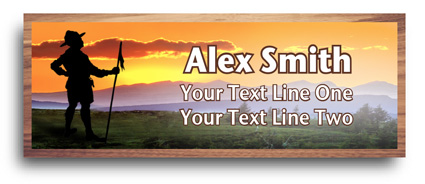 cherry wood full color scout Name Tags - scouter  sunset