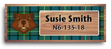 cherry wood full color scout Name Tags - wood badge beaver