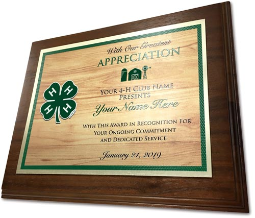4-h club reward walnut plaque