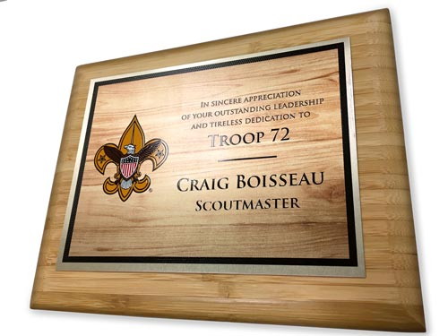 cub scout pack custom reward bamboo plaque