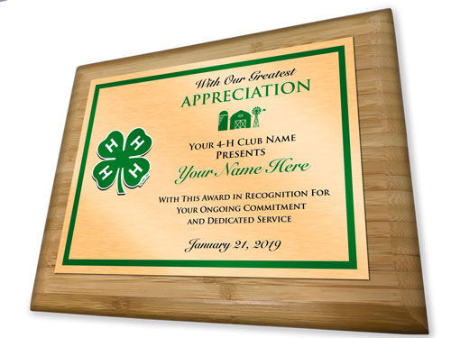 4-h club custom reward bamboo plaque