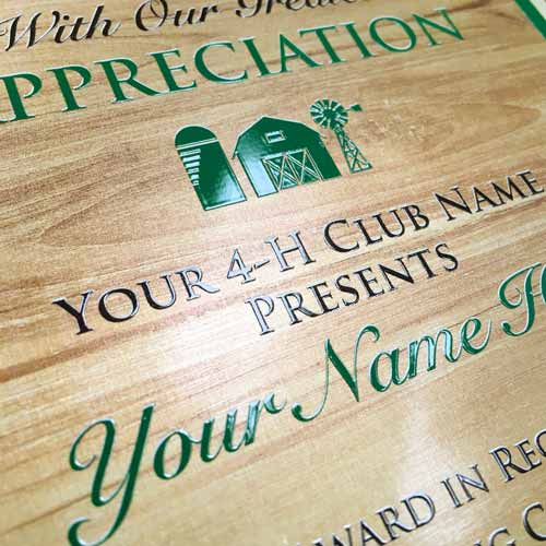raised gloss on print on 4-h plaque plate