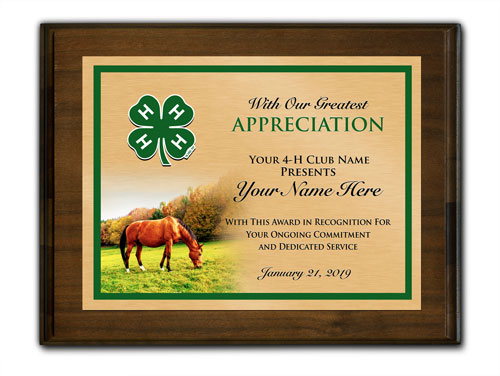 4-h custom walnut horizontal with horse background plaque