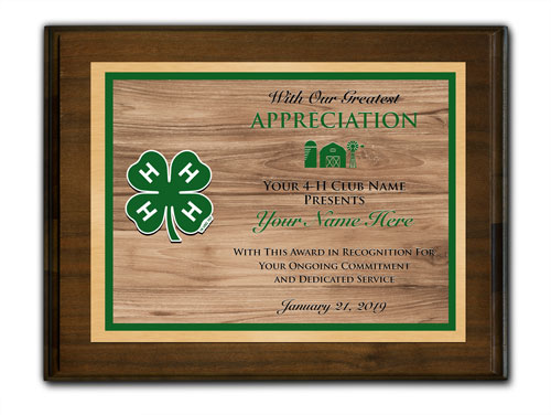 4-h custom walnut horizontal with wood background plaque