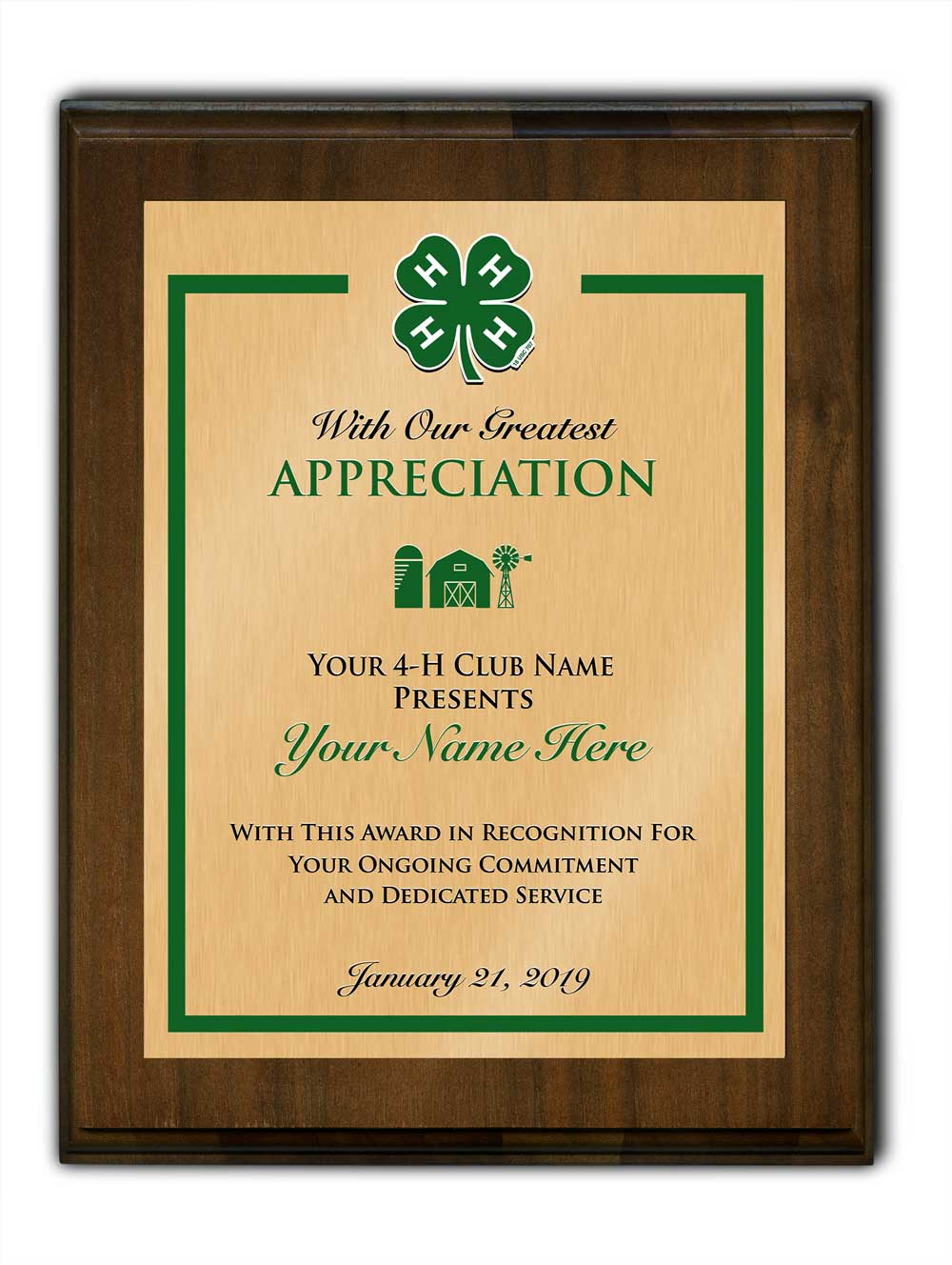 4-h custom walnut plaque standard vertical plaque