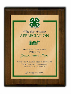 4-h walnut plaque standard vertical footer