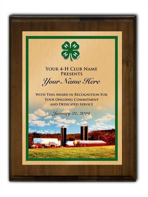 4-h custom walnut vertical with farm background plaque