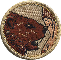 Wood badge critter head beaver patch