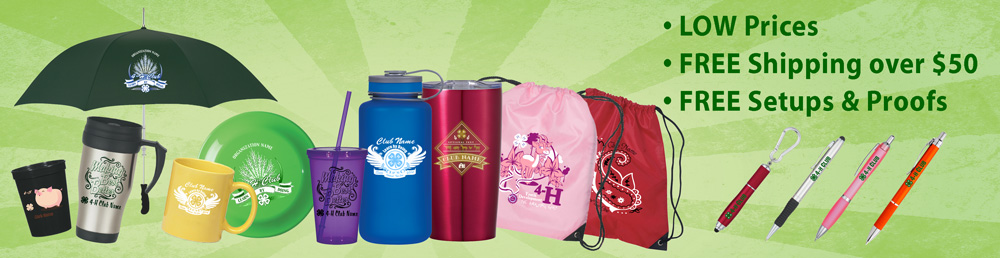4-H clubs, camps, and extension offices Promotional Products