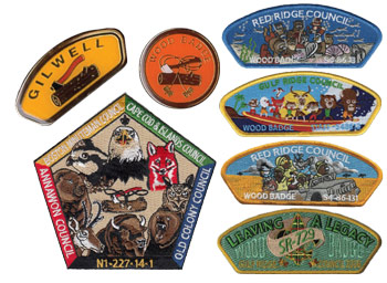 wood badge pins and coins