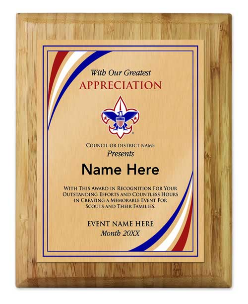 BSA council event coordinator vertical bamboo plaque