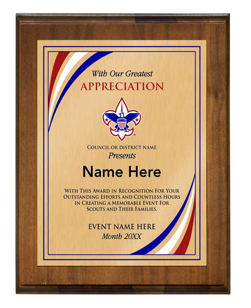BSA council event coordinator vertical walnut plaque