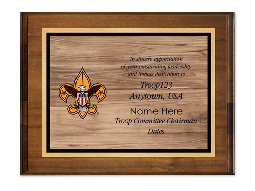 BSA troop committee chairman horizontal walnut plaque