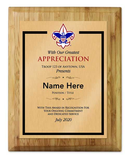 BSA vertical bamboo reward plaque