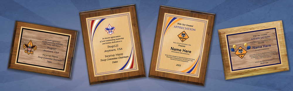 scout leadership plaque ordering is easy • low prices • full color