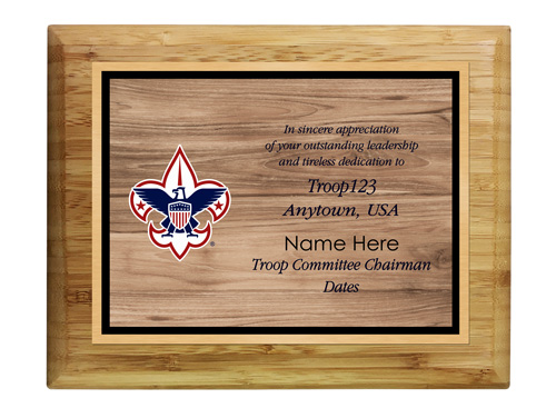 cubmaster custom bamboo horizontal with wood background plaque