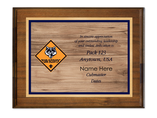 cubmaster custom walnut standard horizontal plaque