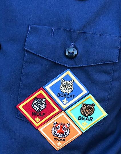 Cub scout left pocket showing rank badges
