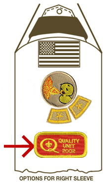 quality unit patch on sleeve of scout uniform