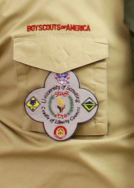 right pocket of scout uniform with activity patch