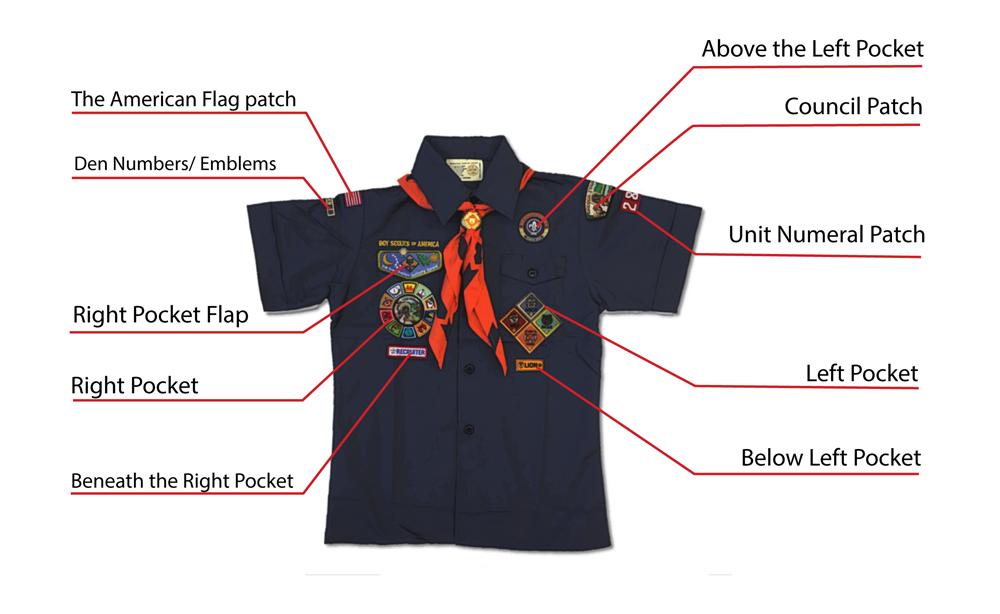 bsa patch placement on cub scout uniform graphic