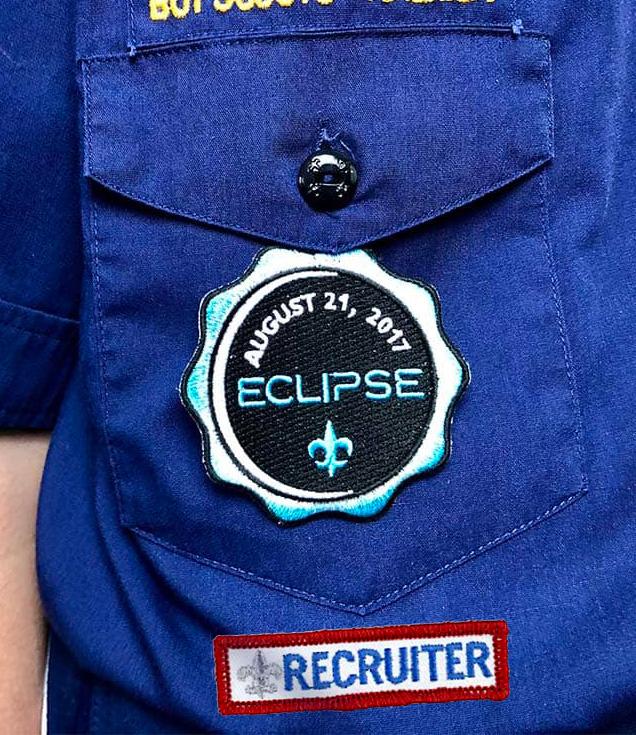 recruiter beneath right pocket of cub scout uniform
